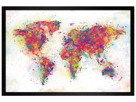 Black Wooden Framed Colour Splash - World Map