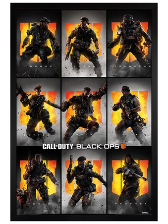 Black Wooden Framed Black Ops 4 Characters - Call Of Duty