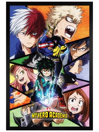 Black Wooden Framed Characters Mosaic - My Hero Academia