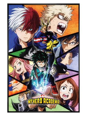 Gloss Black Framed Characters Mosaic - My Hero Academia