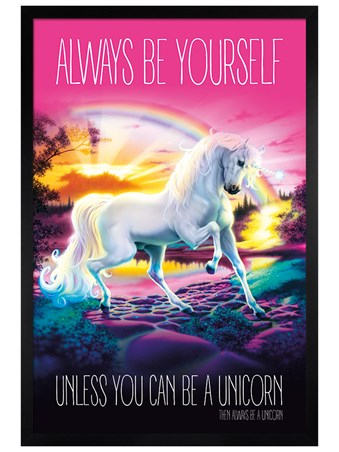 Black Wooden Framed Always Be Yourself - Unicorn