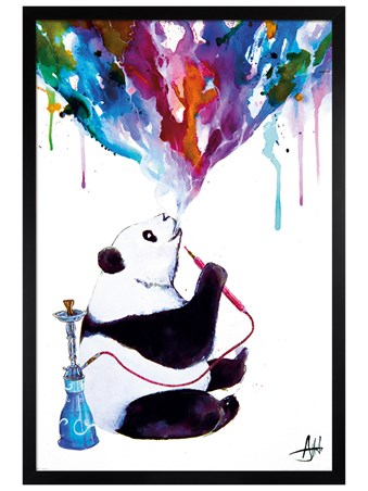 Black Wooden Framed Chai Panda - Marc Allante