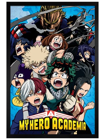 Black Wooden Framed Cobalt Blast Group - My Hero Academia