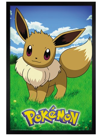 Black Wooden Framed Eevee - Pokemon