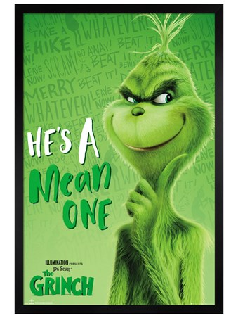 Black Wooden Framed Mean One - The Grinch