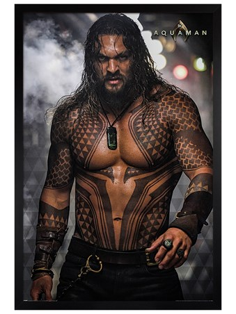 Black Wooden Framed Pin-up - Aquaman