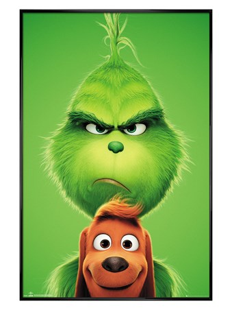 Gloss Black Framed Grinch and Max - The Grinch