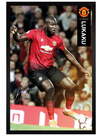 Black Wooden Framed Lukaku 18-19, Manchester United