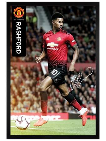 Black Wooden Framed Rashford 18-19 - Manchester United