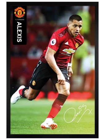 Black Wooden Framed Alexis 18-19 - Manchester United