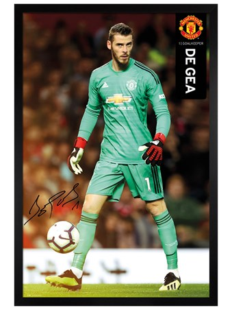 Black Wooden Framed De Gea 18-19 - Manchester United