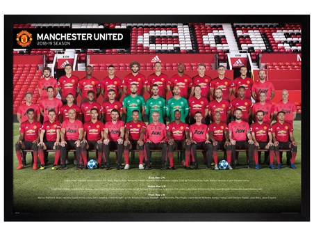 Black Wooden Framed Players 18-19 - Manchester United