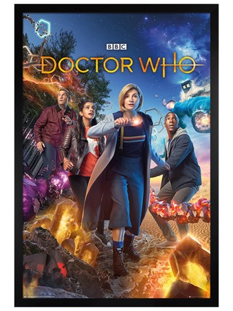 Black Wooden Framed Group - Doctor Who