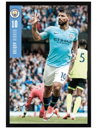 Black Wooden Framed Aguero 18-19 - Manchester City
