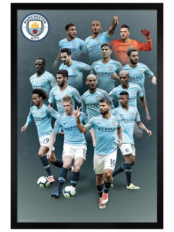 Black Wooden Framed Players 18-19 - Manchester City
