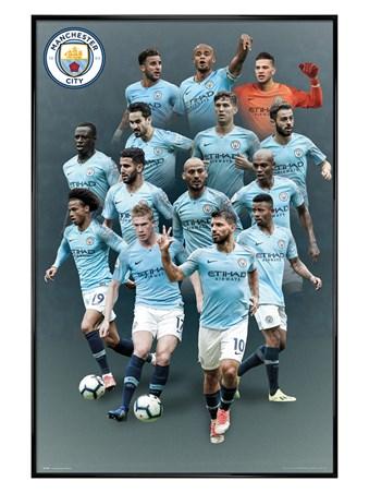 Gloss Black Framed Players 18-19 - Manchester City