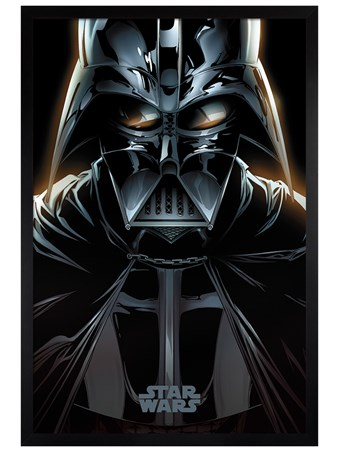 Black Wooden Framed Vader Comic - Star Wars