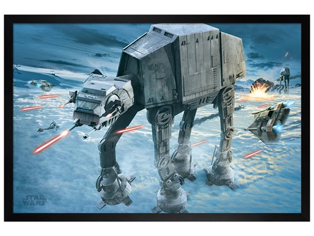 Black Wooden Framed AT-AT Attack - Star Wars