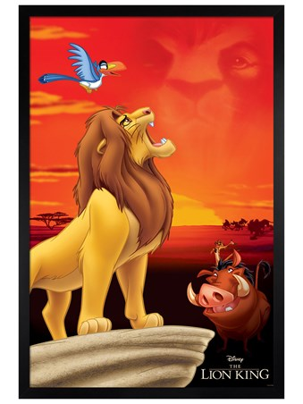Black Wooden Framed King of Pride Rock - The Lion King