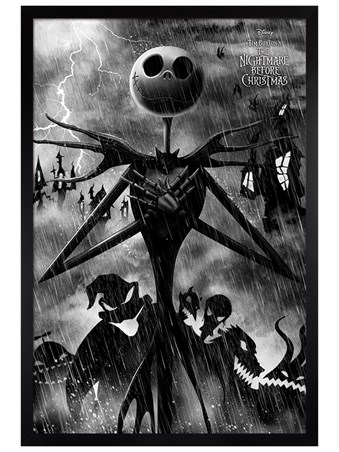 Black Wooden Framed Stormy Night - Nightmare Before Christmas