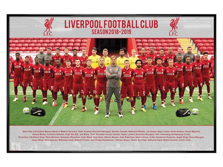 Gloss Black Framed Team Photo 18-19 - Liverpool FC