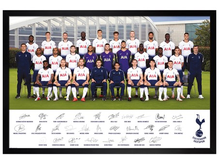 Black Wooden Framed Team Poster 18-19 - Tottenham Hotspur