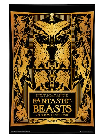 Gloss Black Framed Book Cover - Fantastic Beasts 2
