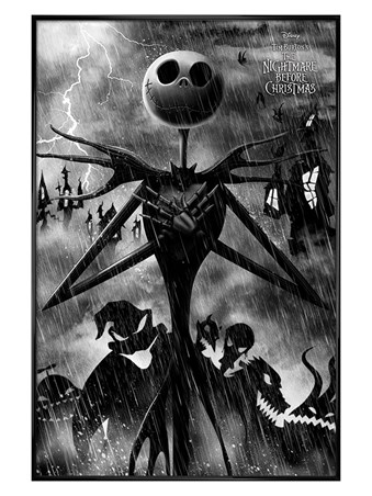 Gloss Black Framed Stormy Night - Nightmare Before Christmas