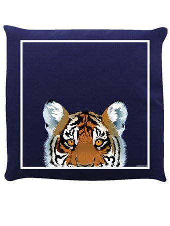 Inquisitive Creatures Tiger Navy Blue Cushion -
