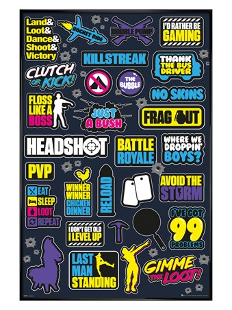 Gloss Black Framed Eat, Sleep, Loot, Repeat - Battle Royale Infographic