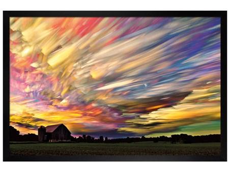Black Wooden Framed Pastel Clouds - Sunset Spectrum