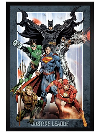 Black Wooden Framed Justice League Group - DC Comics