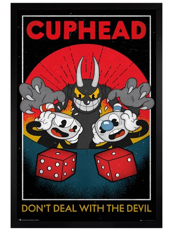 Black Wooden Framed Deal With The Devil - Cuphead Craps