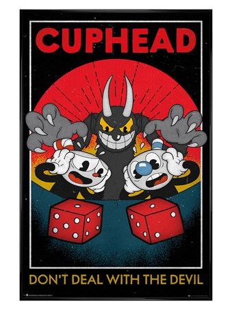 Gloss Black Framed Don't Deal With The Devil - Cuphead Craps