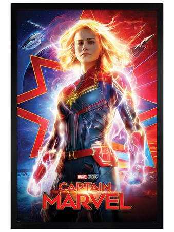 Black Wooden Framed Higher, Further, Faster - Captain Marvel