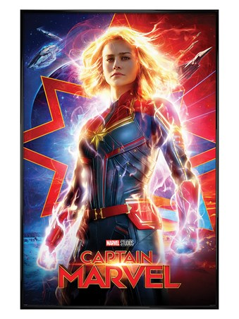 Gloss Black Framed Higher, Further, Faster - Captain Marvel