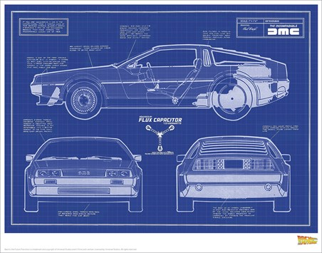 Delorean Blueprint - Back To The Future