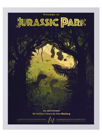 Jurassic Park Silhouette Framed Limited Edition Numbered Print -