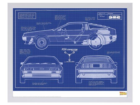 Limited Edition Delorean Blueprint - Back To The Future