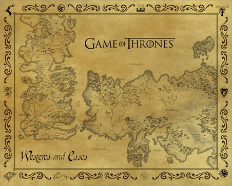 Antique Map Of Westeros & Essos - Game Of Thrones