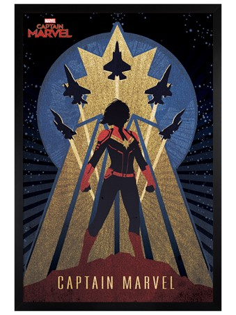 Black Wooden Framed Deco - Captain Marvel