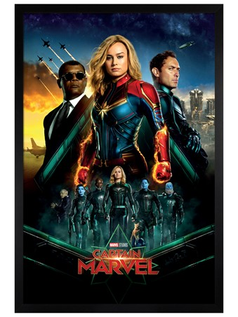 Black Wooden Framed Epic - Captain Marvel