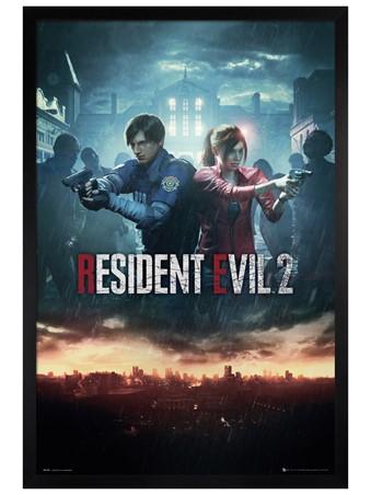 Black Wooden Framed City Key Art - Resident Evil 2