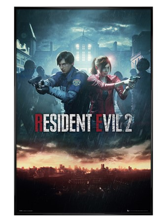 Gloss Black Framed City Key Art - Resident Evil 2