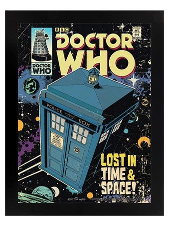 Black Wooden Framed Lost In Time And Space - Doctor Who