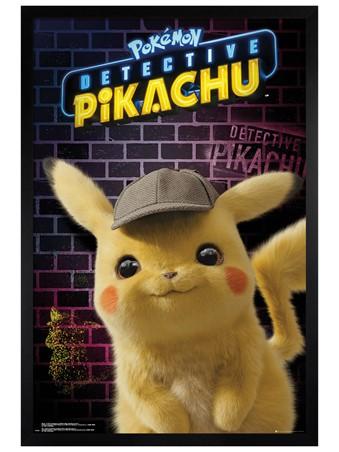 Black Wooden Framed Pikachu Detective - Pokemon