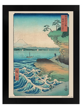 Black Wooden Framed Seashore at Hoda - Hiroshige