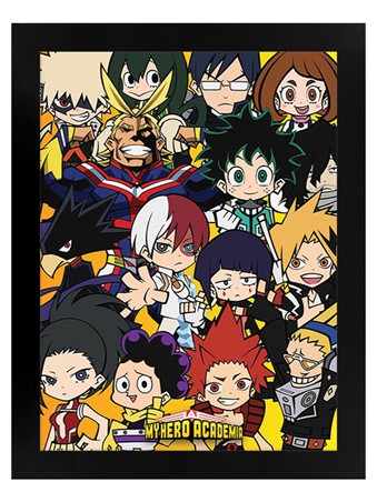 Black Wooden Framed Chibi Characters - My Hero Academia