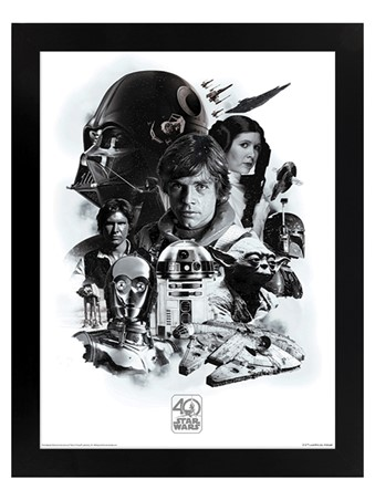 Black Wooden Framed 40th Anniversary - Star Wars