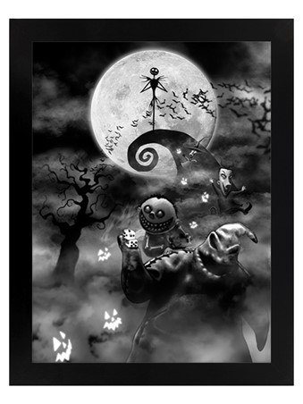 Black Wooden Framed Oogie Boogie Trouble - Nightmare Before Christmas